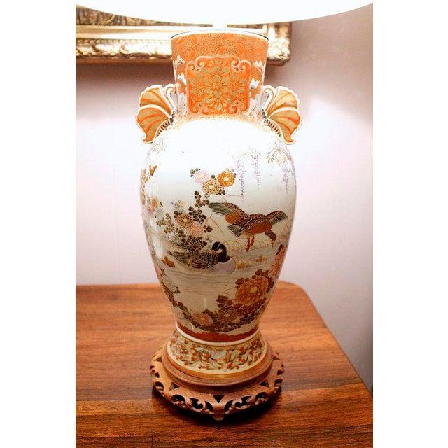 Japanese Satsuma Ware Vase Lamp For Sale - Image 5 of 11