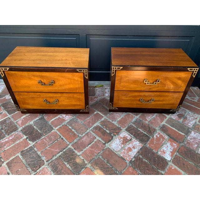 Basset asian inspired chinoiserie night tables, two tone strain and brass hardware, hollywood regency style