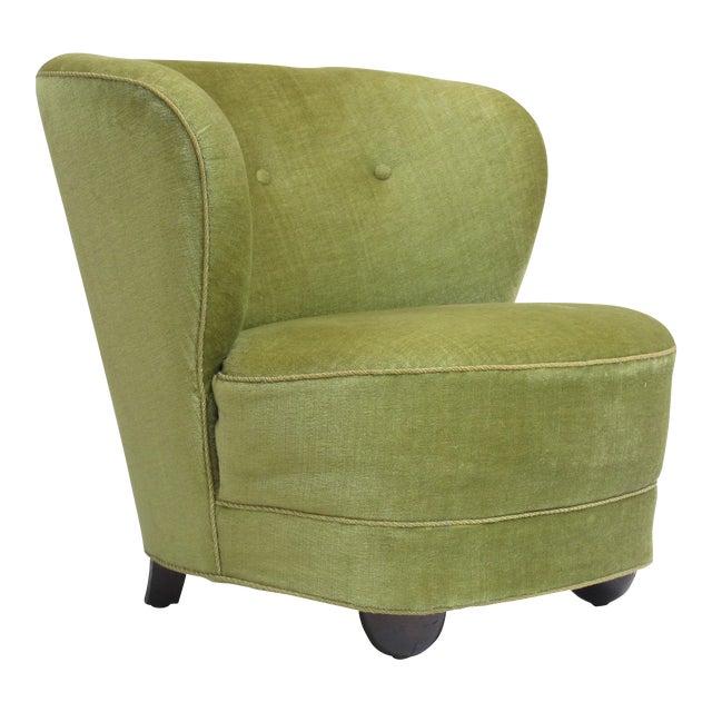 1930s Danish Slipper Chair in Original Green Mohair For Sale