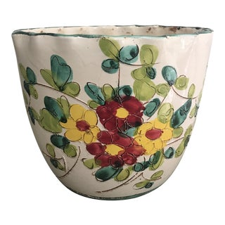Vintage Italian Pottery Cachepot Planter For Sale