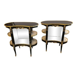 Pair of Louis XV Hollywood Regency Style Ebony Vitrine End Tables or Nightstands For Sale
