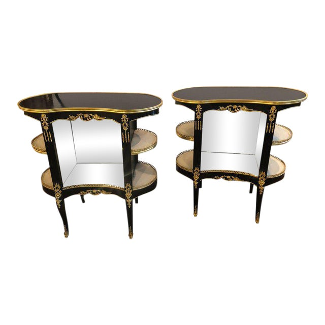 Pair of Louis XV Hollywood Regency Style Ebony Vitrine End Tables or ...