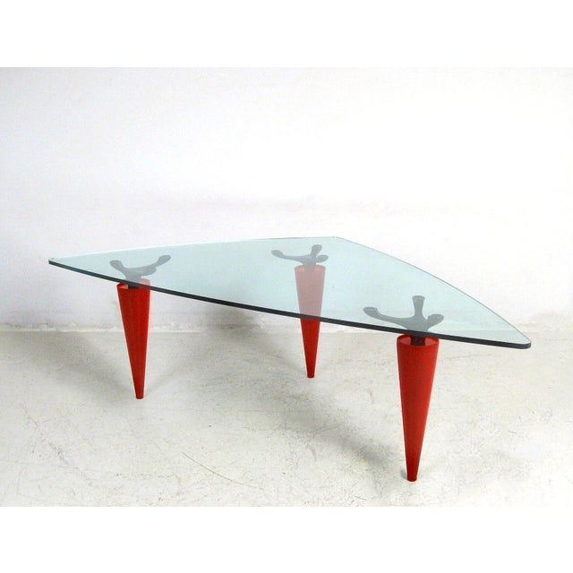 Contemporary 1991 Isao Hosoe for Cassina Italia 'Oskar in Red Leather' Table For Sale - Image 3 of 7