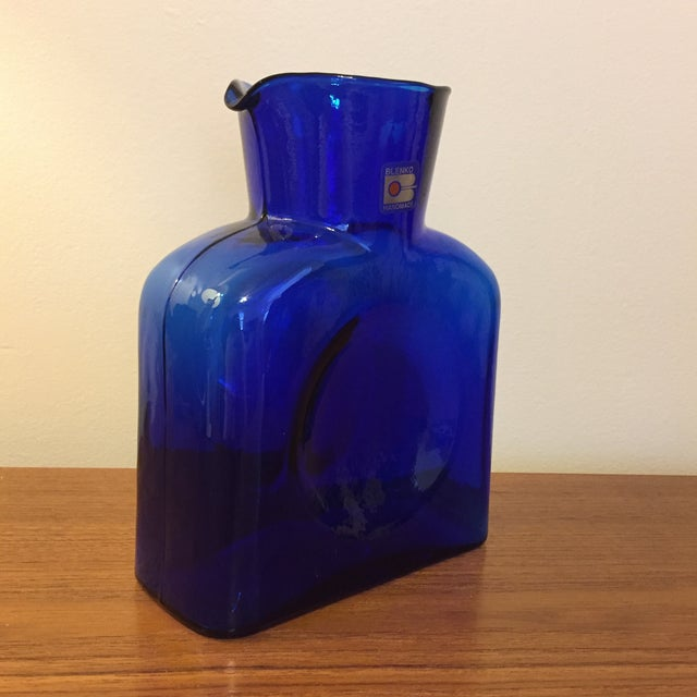 Italian Blue Blenko Glass Water Pitcher For Sale - Image 3 of 7