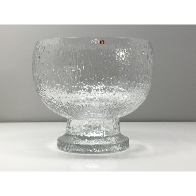 Transparent Mid 20th Century Timo Sarpaneva Kekkerit Footed Glass Bowl for Iittala Finland For Sale - Image 8 of 12