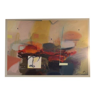 Mid Century Vintage Original Abstract Oil Painting by Ron Romano For Sale