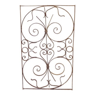 Vintage Decorative Whitewashed Iron Grate For Sale
