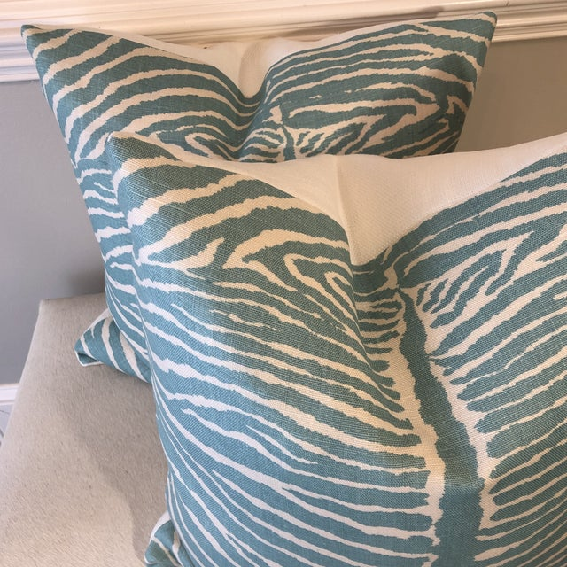 "2010s Brunschwig & Fils ""Le Zebre"" in Aqua 22"" Pillows-A Pair For Sale - Image 5 of 6"