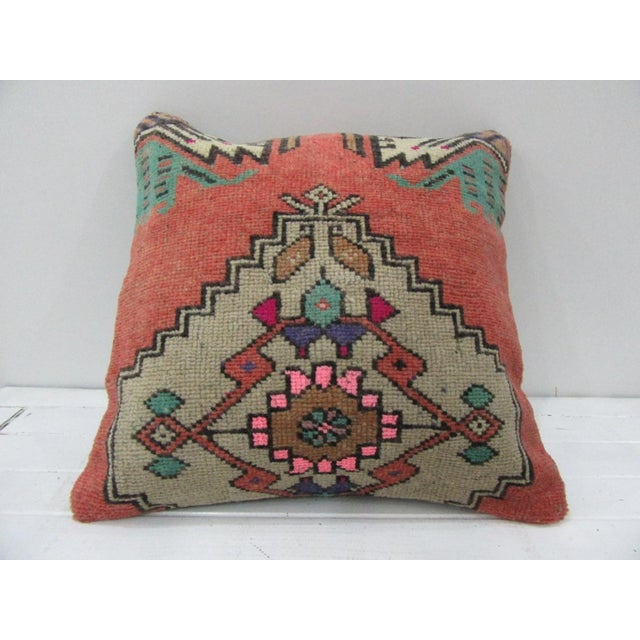 Vintage Handmade Decorative White and Pink Turkish Pillow Cover For Sale - Image 4 of 4
