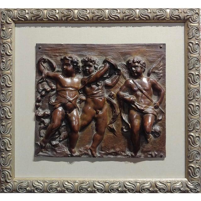 "19th century French Bronze relief plaque - 3 Dancing Cherubs frame size 16 x 18"" bronze size 10 x 11"" A beautiful piece..."