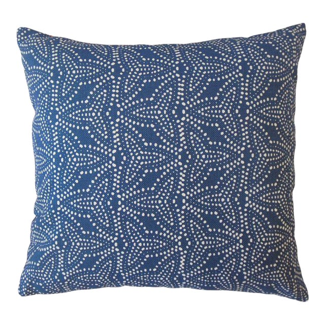 Pair of Gimbya Blue Geometric Pillows For Sale
