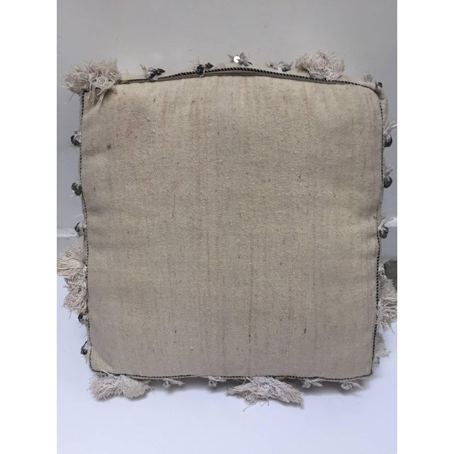 Moroccan Wedding Floor Pillow Pouf with Silver Sequins and Long Fringes For Sale - Image 9 of 10