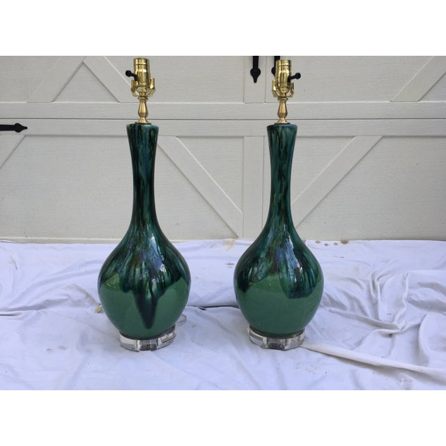 Blue Midcentury Drip Glaze Gourd Lamps, a Pair For Sale - Image 8 of 8