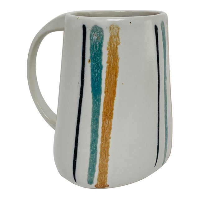 1960s Mid Century Modern Striped Oval Stoneware Mug From Bennington Potters For Sale