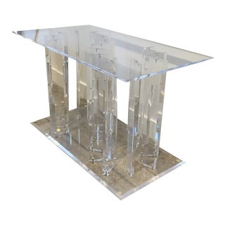 Vintage Hollywood Regency Lucite Table Base For Sale