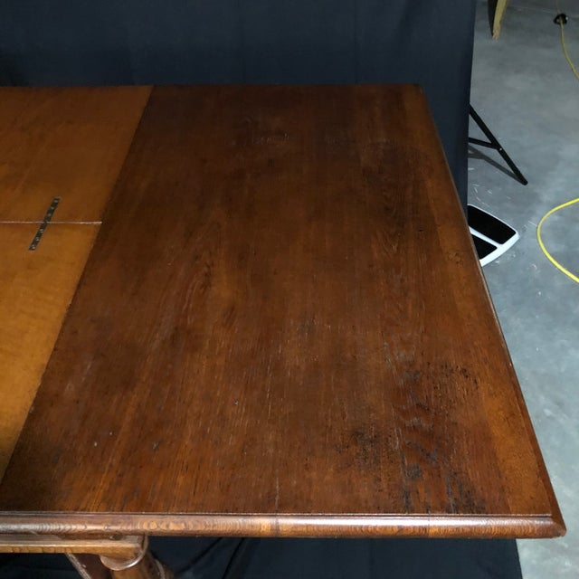 Carved Oak Arts and Crafts Art Deco French Expandable Dining Table For Sale - Image 9 of 13