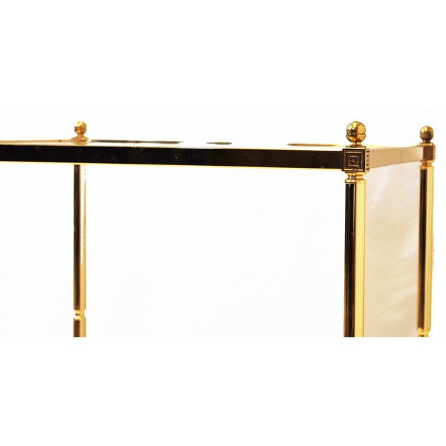 Hollywood Regency Brass Glass Top End Side Table - Image 3 of 6