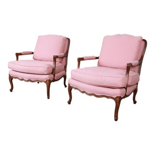 Baker Furniture French Provincial Louis XV Fauteuils, Pair For Sale