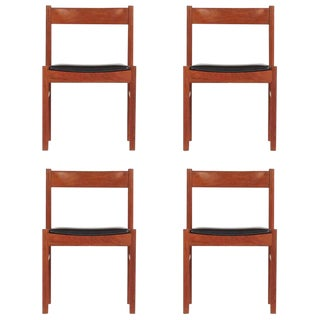 Set of Four 1960s Grete Jalk Style Teak Danish Modern Chairs For Sale