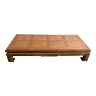 Henredon Ming Style Burl Wood Low Coffee Table For Sale