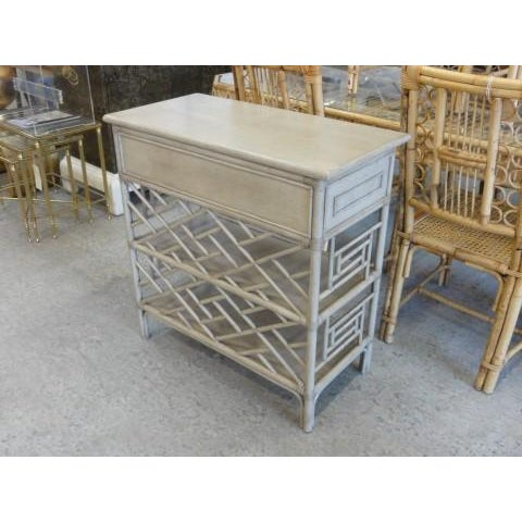 David Frances Chippendale Gray Rattan Side Table - Image 7 of 9