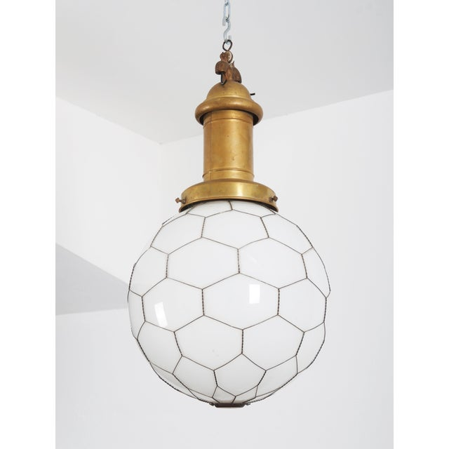 Rare Street or Factory Pendant Lamp Opaline Glass From the 1900s For Sale - Image 10 of 10