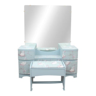 """1960's Aqua Vanity Restyled With """"Nesting Flamingo"""" Fabric and Hand Painted Flamingos For Sale"""