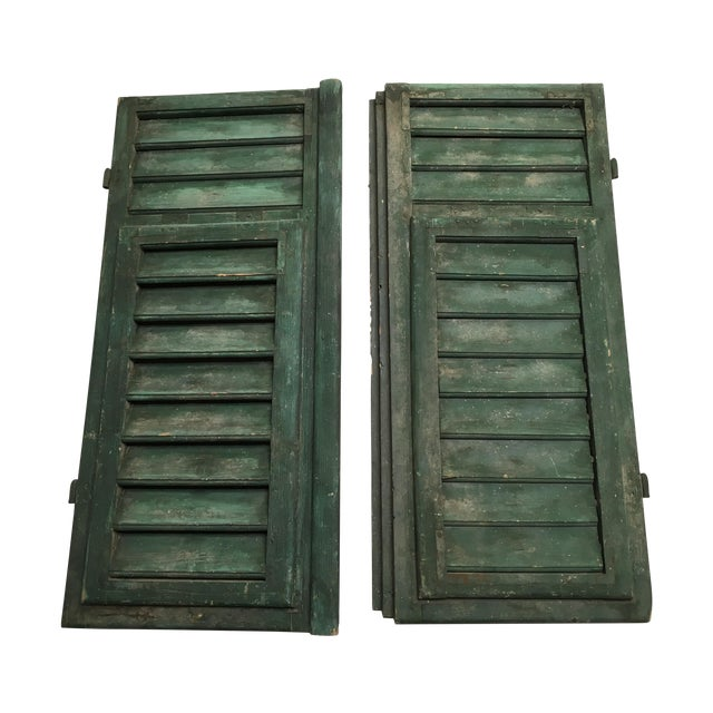 Vintage French Louvered Shutters - A Pair - Image 1 of 9
