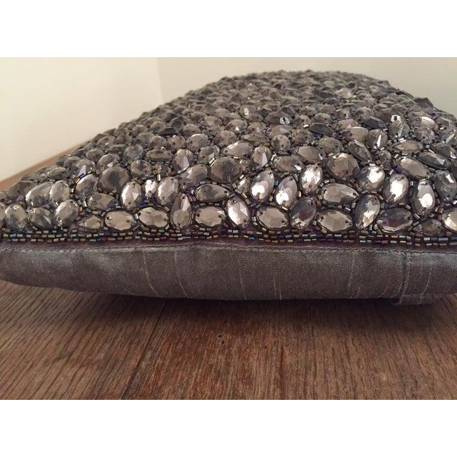 Aviva Stanoff Beaded Jewel in Smoke Pillow For Sale - Image 4 of 6