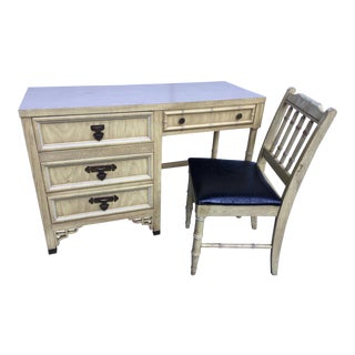1970s Boho Chic Shangri La Desk and Chair - 2 Pieces For Sale