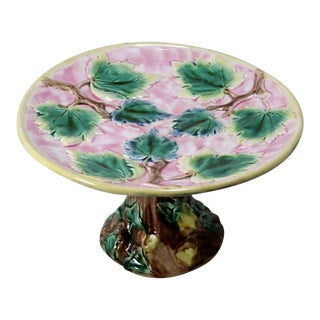 1880s Antique Signed American Majolica Compote For Sale