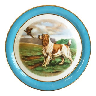 English Blue and White Porcelain Jewelry Dish With Spaniel Dog and Bird For Sale