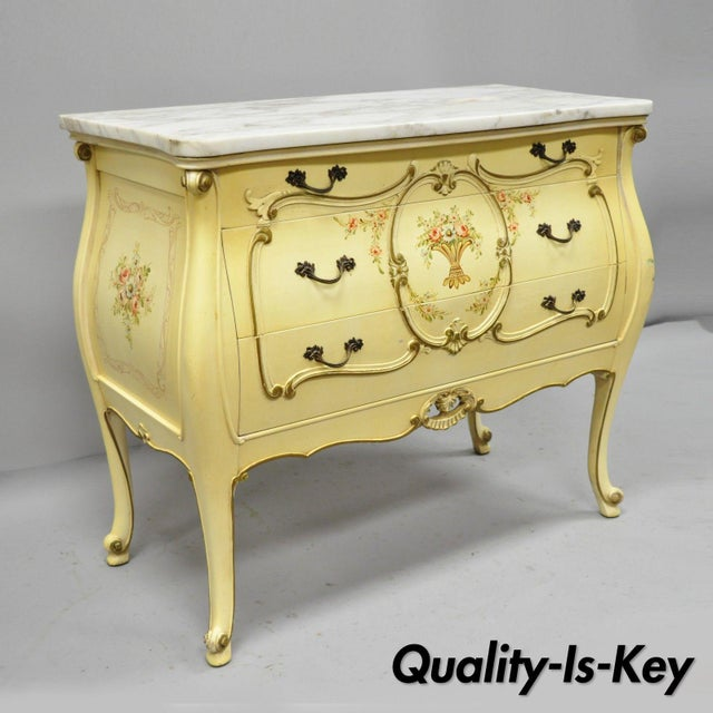 Cream Floral Painted Marble Top Commode For Sale - Image 11 of 11