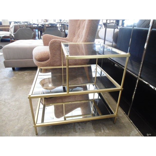 West Elm Tiered Glass Mirror Brass Side Table Chairish - West elm glass side table
