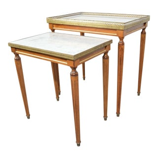 Louis XVI Style Nesting Tables in Mahogany & Carrara Marble With Brass Gallery For Sale
