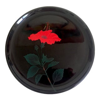 Vintage Mid Century Japan Hibiscus Flower Blossom Relief Round Black Lacquer Tray For Sale