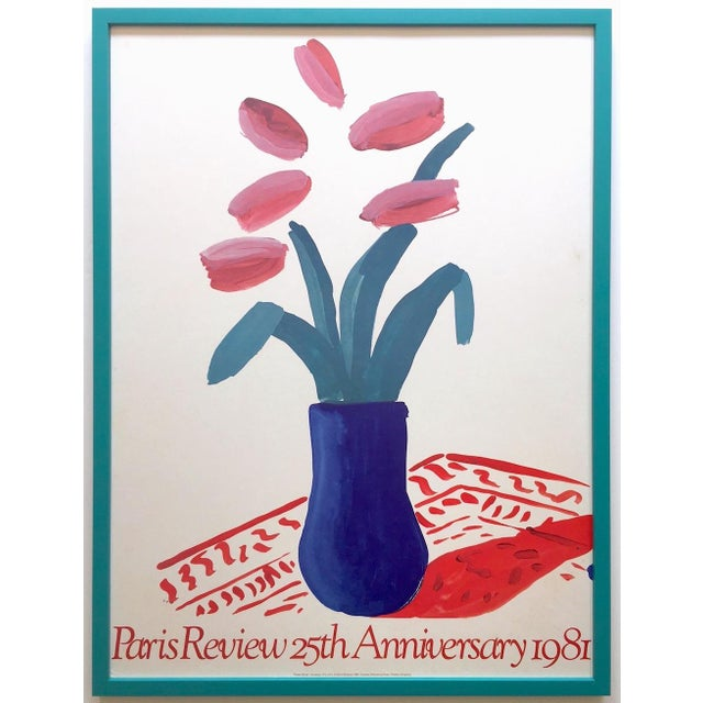 """David Hockney Rare Vintage 1981 Lithograph Print Framed"""" Paris Review """" 25th Anniversary Collector's Poster For Sale - Image 13 of 13"""