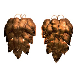 Vintage Brass Wall Sconces in a Layered Leaf Design - a Pair For Sale