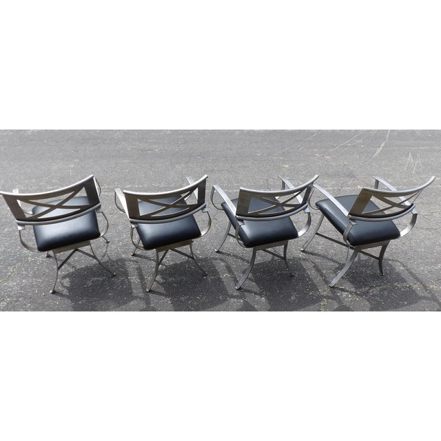 "Tan Vintage Mid Century Arthur Umanoff for Shaver Howard ""X"" Chairs- Set of 4 For Sale - Image 8 of 13"