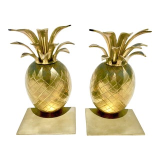 1970's Vintage Hollywood Regency Brass Pineapple Bookends - a Pair For Sale