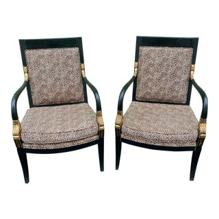 Dolphin Head Carved Wood Arm Chairs - A Pair For Sale