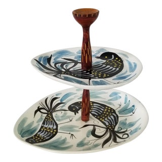 Italian Hand Painted Two Tier Ceramic Tray For Sale