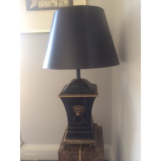 Bronze Decorator Library Lamp With Lion Heads - Image 2 of 5