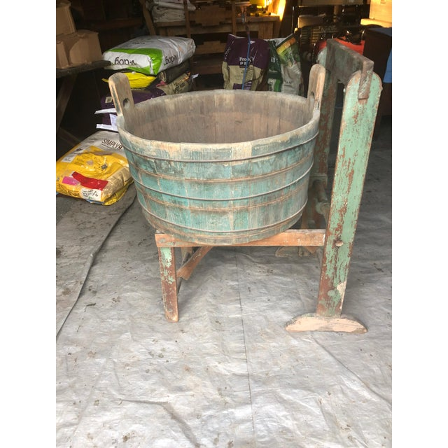 Distressed Country Washing Barrel Tub and Stand For Sale - Image 13 of 13