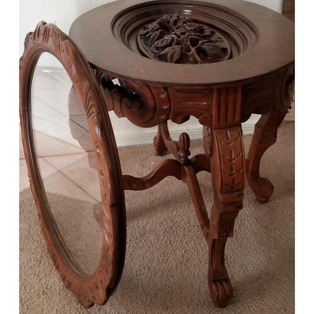 1930's Heavily Carved Wooden Table W/Glass Tray Removable Top For Sale In Phoenix - Image 6 of 13