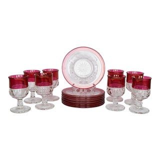 Faceted Flashed Cranberry Pink Kings Crown Etched Wine Glass and Plate Set by Tiffin - Set of 16 For Sale