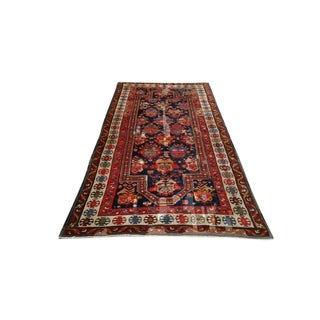 Antique Persian Caucasian Karabagh Hand Knotted Rug - 4′6″ × 8′8″ - Size Cat. 5x7 5x8 For Sale
