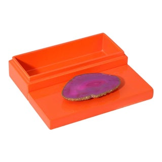 Small Orange Lacquer Box With Pink Agate