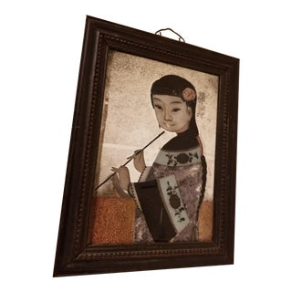Chinese Export Reverse Painting Portrait of a Young Woman For Sale