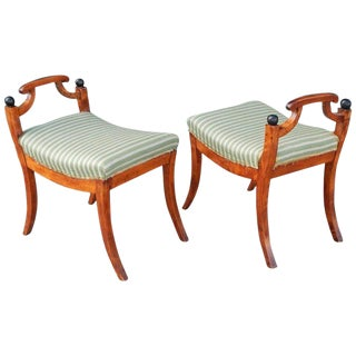 1920s Vintage Swedish Biedermeier Revival Foot Stools- A Pair For Sale
